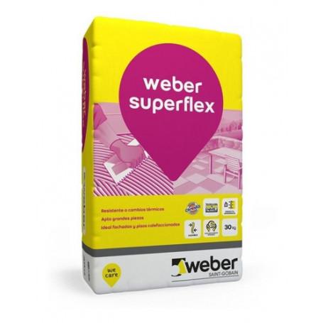 Pegamento Adhesivo Porcellanato Superflex Weber 30 K Int/ext